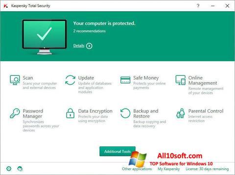 Screenshot Kaspersky Total Security for Windows 10