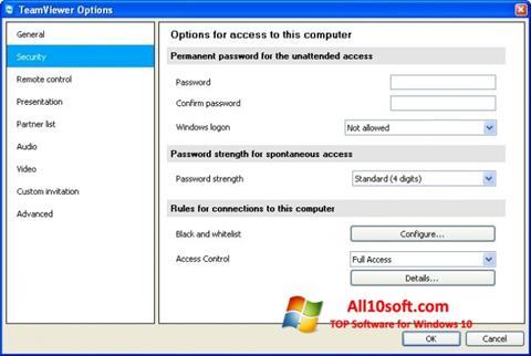Screenshot TeamViewer for Windows 10
