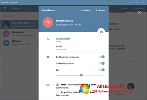 Screenshot Telegram for Windows 10