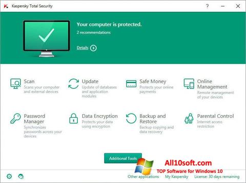 Screenshot Kaspersky Total Security for Windows 10