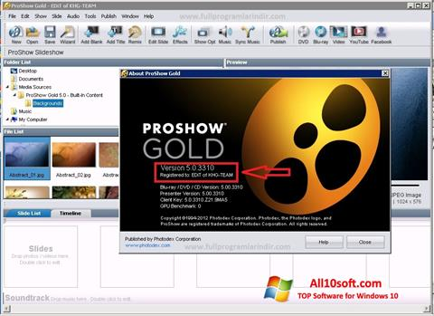 Screenshot ProShow Gold for Windows 10