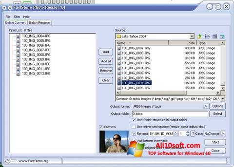 Screenshot FastStone Photo Resizer for Windows 10
