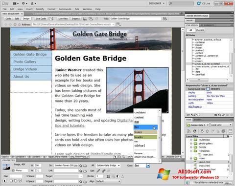 Screenshot Adobe Dreamweaver for Windows 10