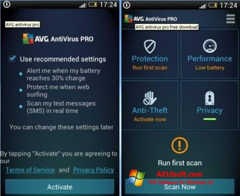 Screenshot AVG AntiVirus Pro for Windows 10