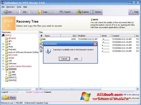 Screenshot GetDataBack for Windows 10