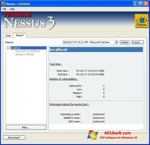 Screenshot Nessus for Windows 10