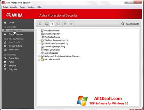 Screenshot Avira Professional Security for Windows 10