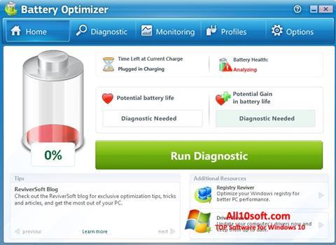 Screenshot Battery Optimizer for Windows 10
