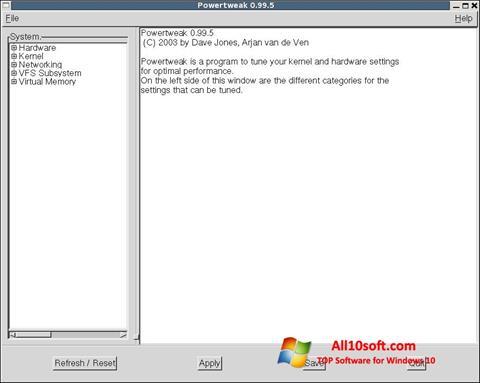 Screenshot PowerTweak for Windows 10