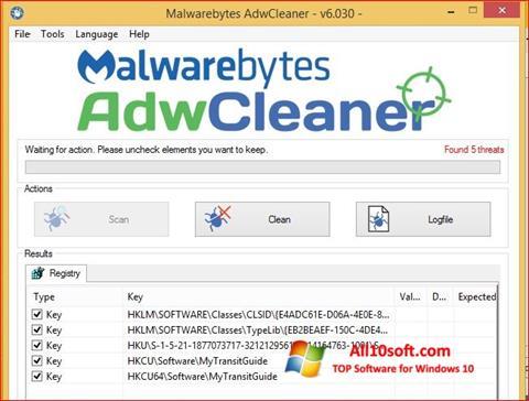 Screenshot AdwCleaner for Windows 10