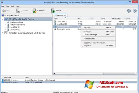 Screenshot Active Partition Recovery for Windows 10