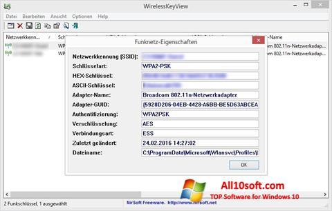 Screenshot WirelessKeyView for Windows 10