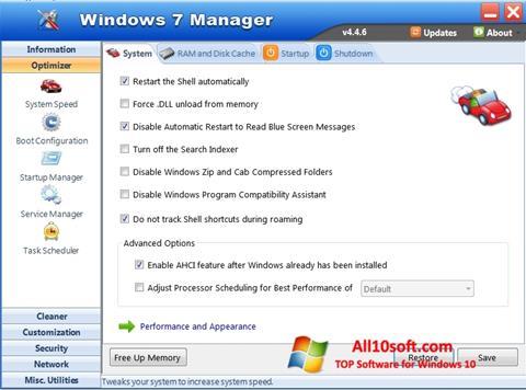 Screenshot Windows 7 Manager for Windows 10
