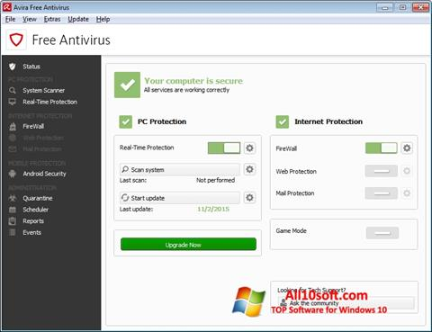 Screenshot Avira Free Antivirus for Windows 10