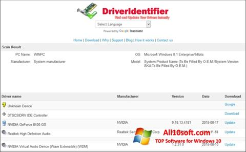 Screenshot Driver Identifier for Windows 10