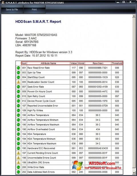 Screenshot HDDScan for Windows 10