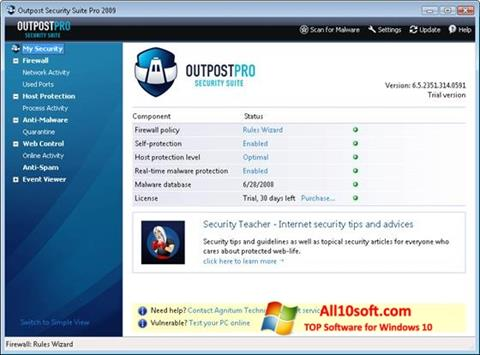 Screenshot Outpost Security Suite PRO for Windows 10
