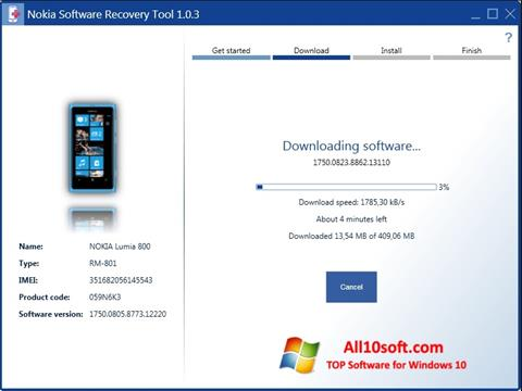 Screenshot Nokia Software Recovery Tool for Windows 10