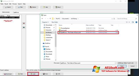 Screenshot ArtMoney for Windows 10
