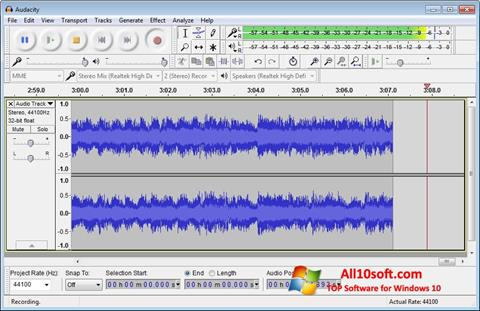 Screenshot Audacity for Windows 10