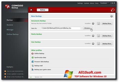 Screenshot Comodo BackUp for Windows 10