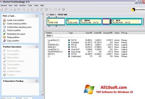 Screenshot Norton Partition Magic for Windows 10