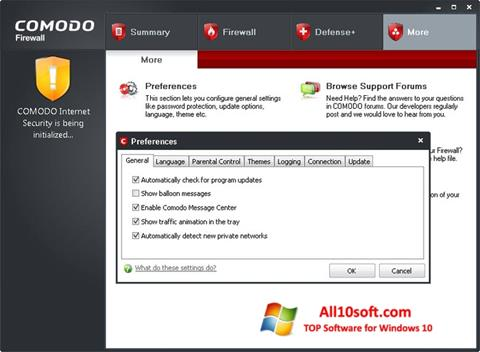 Screenshot Comodo Firewall for Windows 10