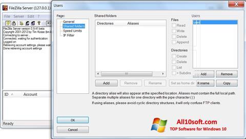 Screenshot FileZilla Server for Windows 10