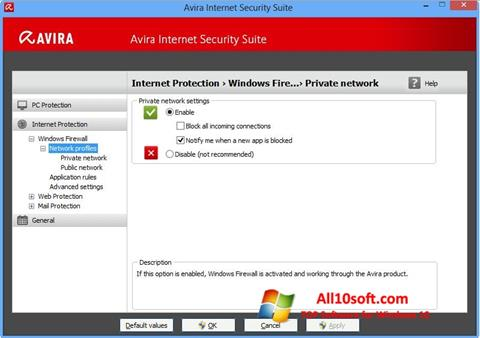Screenshot Avira Internet Security for Windows 10