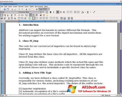 Screenshot AbiWord for Windows 10