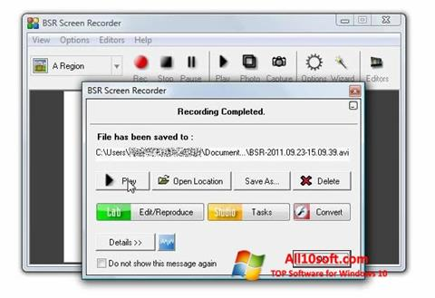 Screenshot BSR Screen Recorder for Windows 10