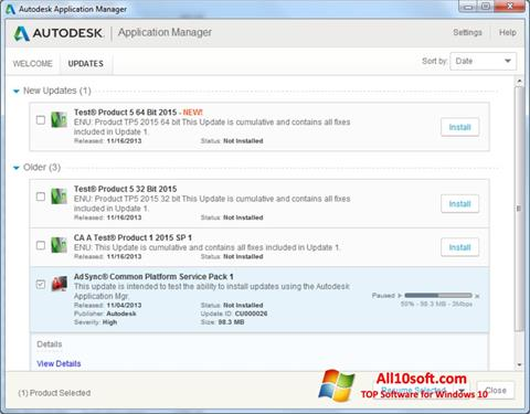 Screenshot Autodesk Application Manager for Windows 10
