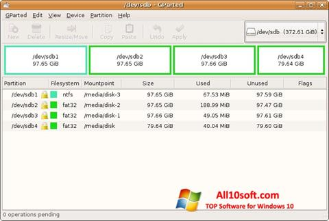 Screenshot GParted for Windows 10