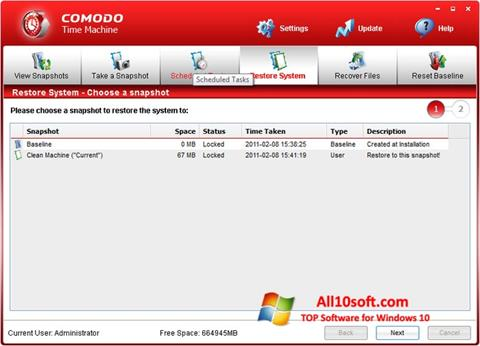 Screenshot Comodo Time Machine for Windows 10