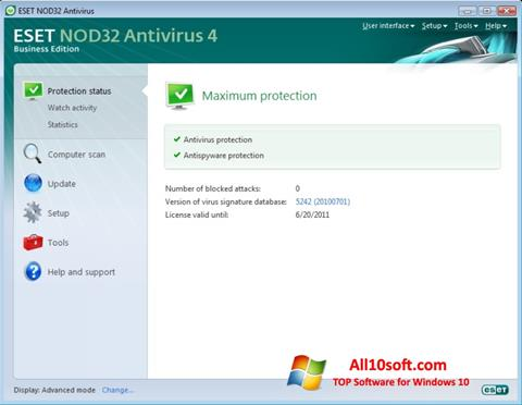 Screenshot ESET NOD32 for Windows 10
