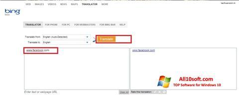 Screenshot Bing Translator for Windows 10