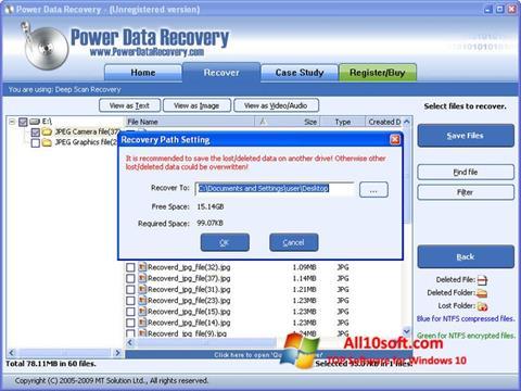 Screenshot Power Data Recovery for Windows 10