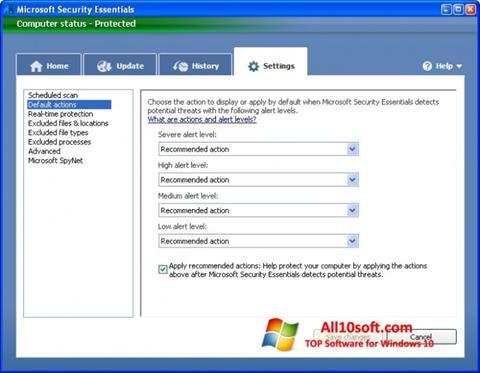 Screenshot Microsoft Security Essentials for Windows 10