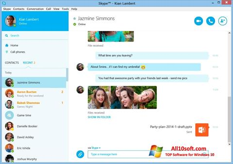 Screenshot Skype for Windows 10