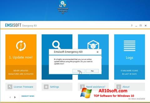 Screenshot Emsisoft Emergency Kit for Windows 10